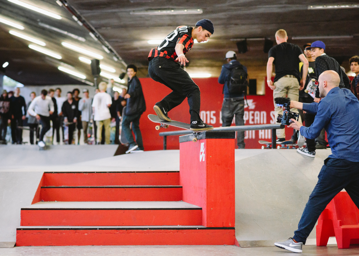 Kyron Davis frontside crooked grinding during last year's London stop.